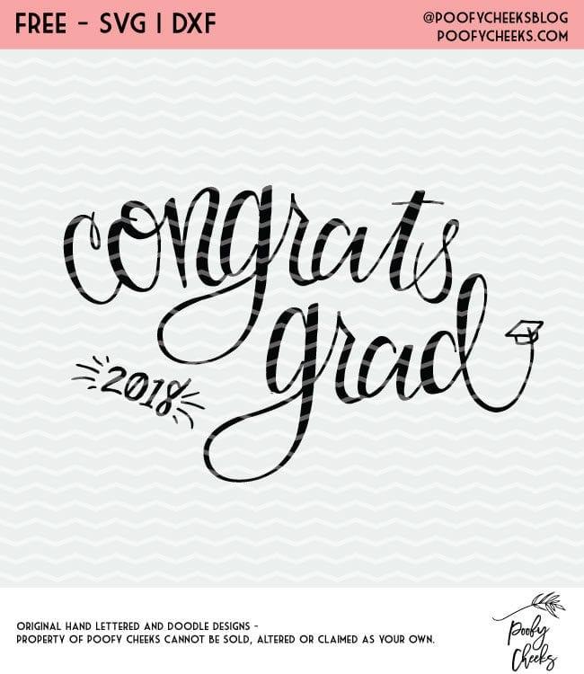 Congrats Grad hand lettered cut file. Free cut file for Silhouette and Cricut. Graduation cut file.