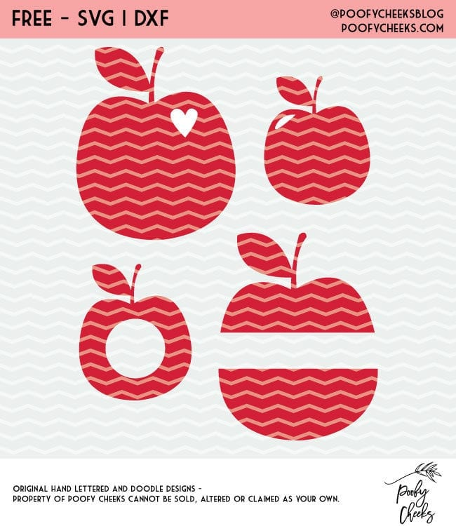 Apple Cut Files for Silhouette and Cricut machines. Free cut file apples in DXF, SVG and PNG format.