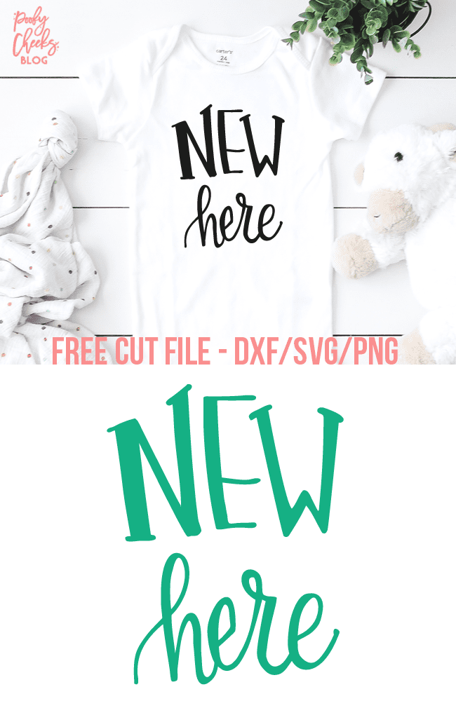 New Here Cut File - Use with Cricut and Silhouette - DXF, PNG, SVG to make a New Here Onesie