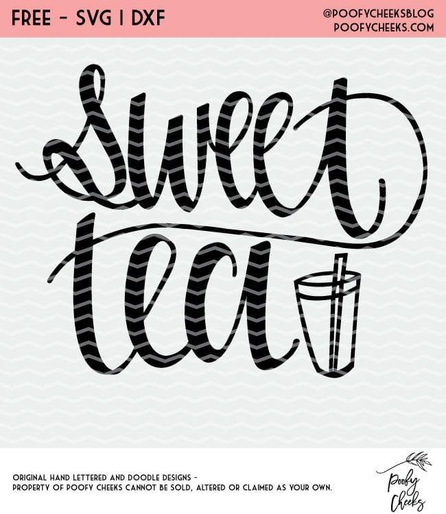 Sweet Tea cut file freebie. Cut file for Silhouette and Cricut machines.