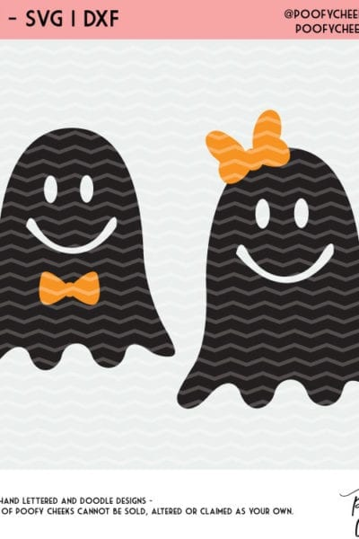 Ghosts with Bows Halloween Cut File – SVG, DXF and PNG – Silhouette and Cricut Design