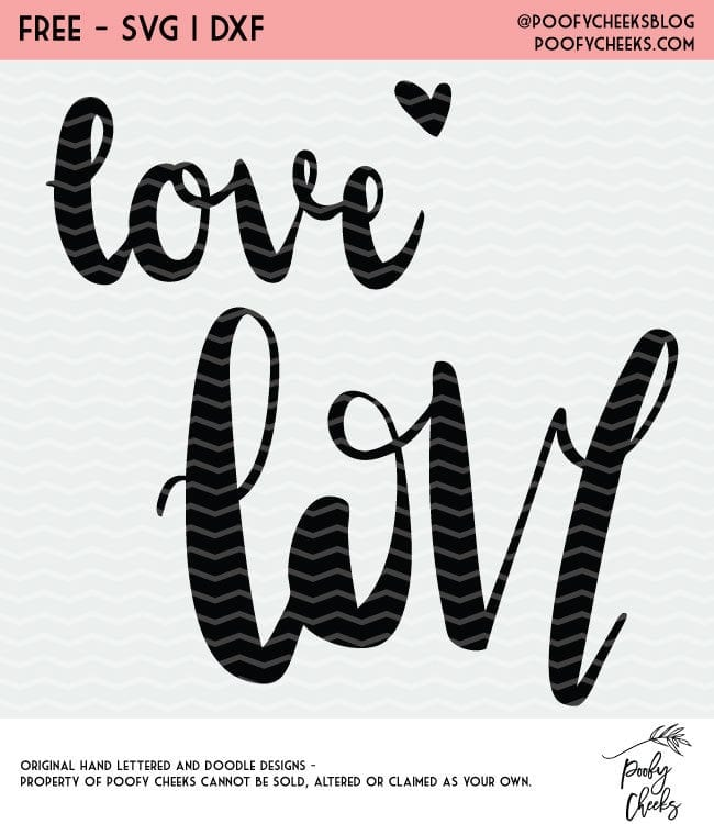 Love Valentine Cut File Freebie. Cut file for Silhouette or Cricut cutting machines. SVG, DXF and PNG instant download.