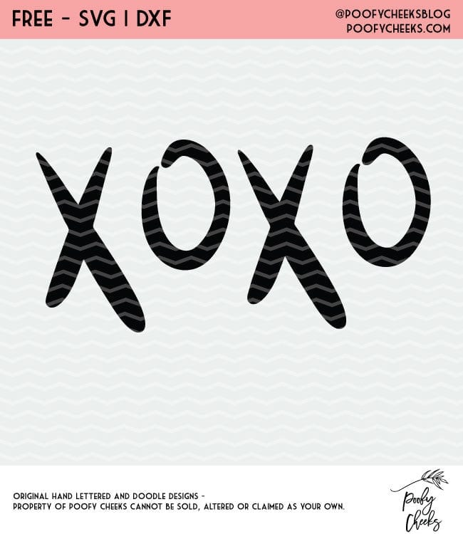 XOXO Cut file for Silhouette and Cricut cutting machines. Tons of free cut files on this site.