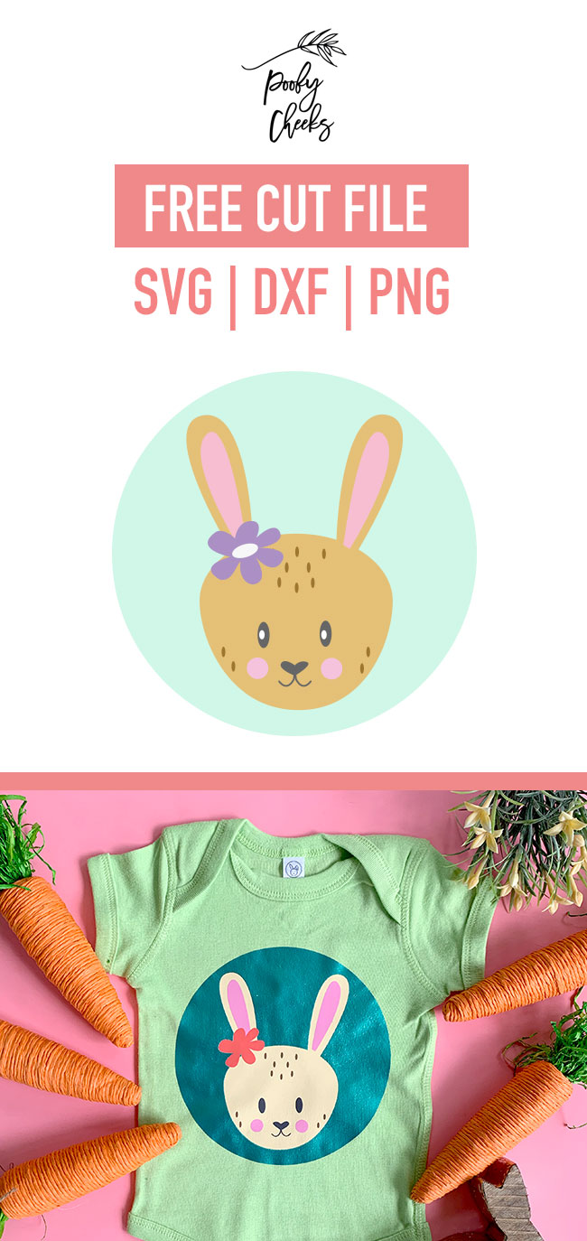How to create layered designs in Cricut Design Space and press them with HTV. Cute free bunny cut file for Cricut and Silhouette.