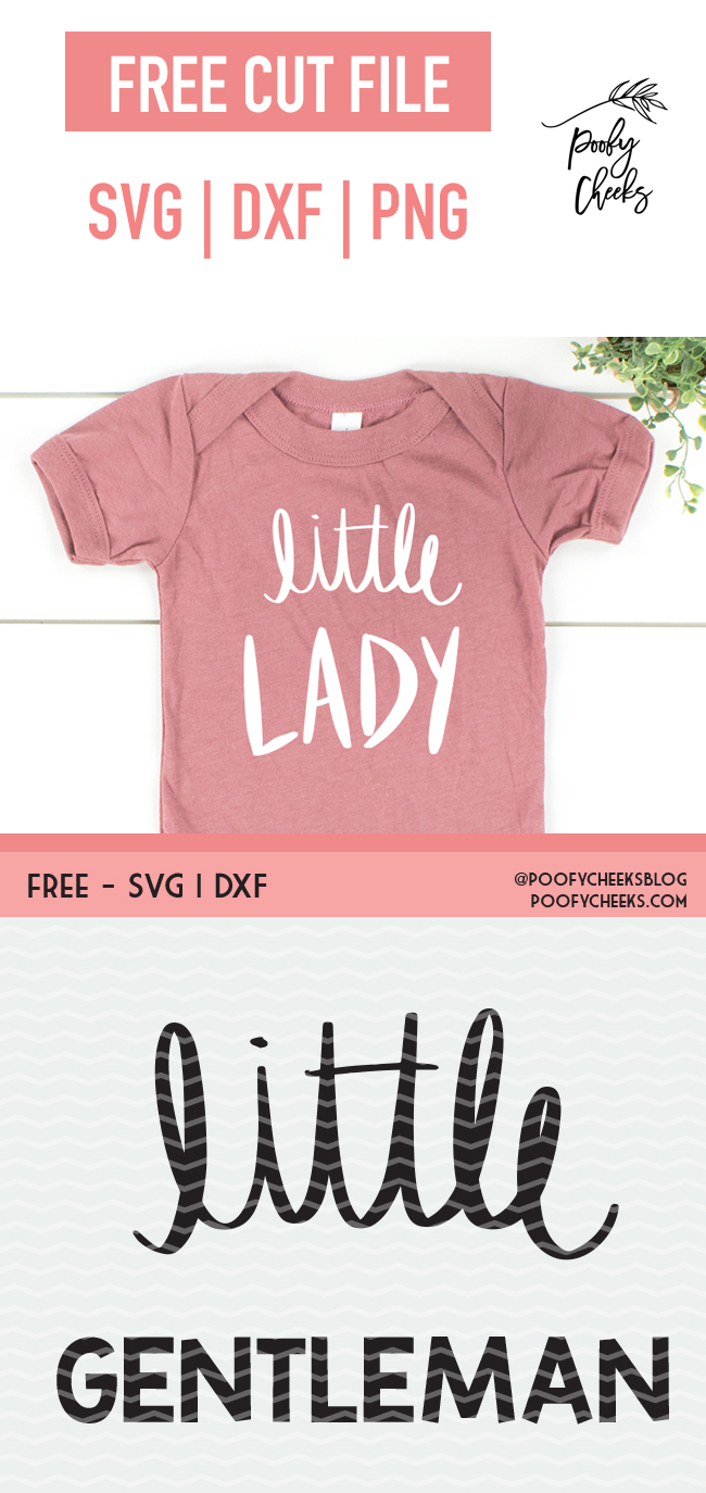Little Lady and Little Gentlemen design for baby onesies. Free cut file for Silhouette or Cricut. SVG, DXF and PNG files for download.