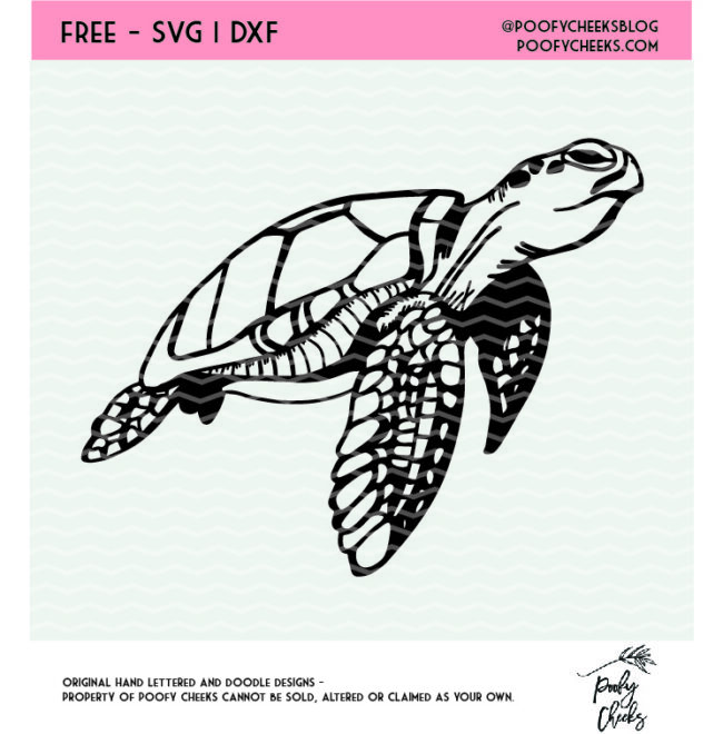 Sea Turtle cut file for use with Silhouette and Cricut. Sea Turtle SVG, DXF and PNG