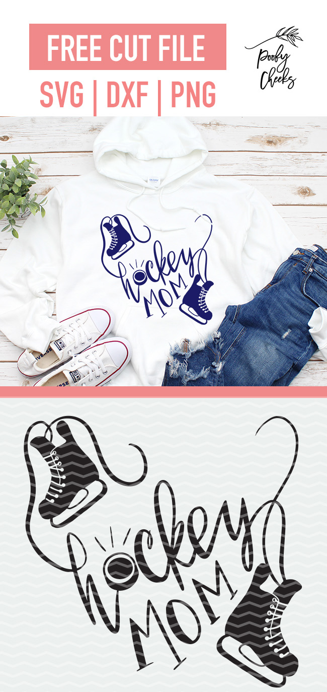Hockey Mom cut file for use with Silhouette and Cricut. SVG, DXF and PNG file formats. Find over 100 free cut files on PoofyCheeks.com
