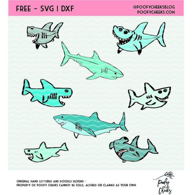 Shark SVG, PNG and DXF cut file for use with Silhouette and Cricut. Baby Shark design.
