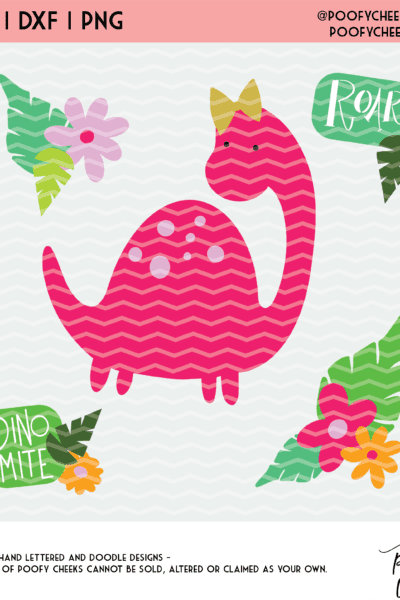 Dino Cut Files – Dinosaurs and Florals – SVG, DXF, PNG