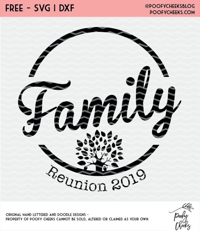 Family Reunion cut file and graphic to use for shirts, logos, invitations and more. DXF, PNG and SVG for Cricut and Silhouette.