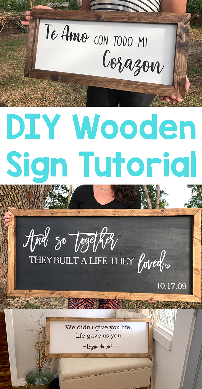 DIY Wooden Sign Tutorial. Step by step instructions, video and pictures.