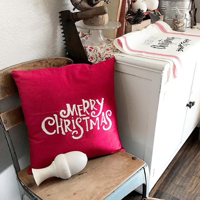 Heat press transfer Merry Christmas Pillow