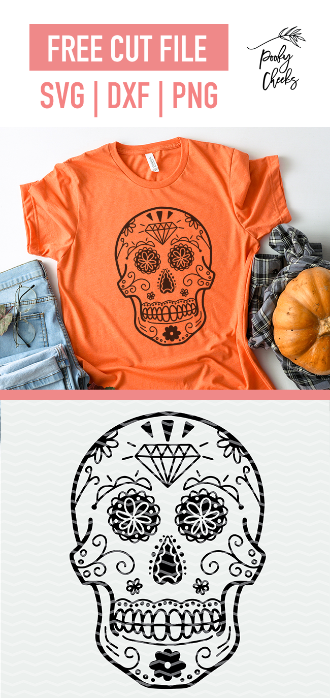 Sugar skull skeleton cut file for Silhouette Cameo and Cricut. SVG, DXF and PNG file.
