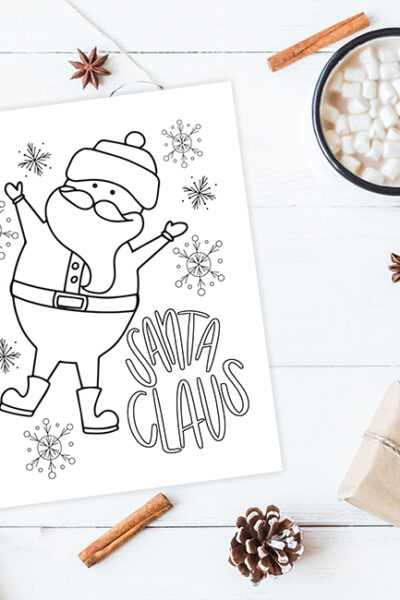 Christmas Coloring Printables – Santa Claus and Cookies