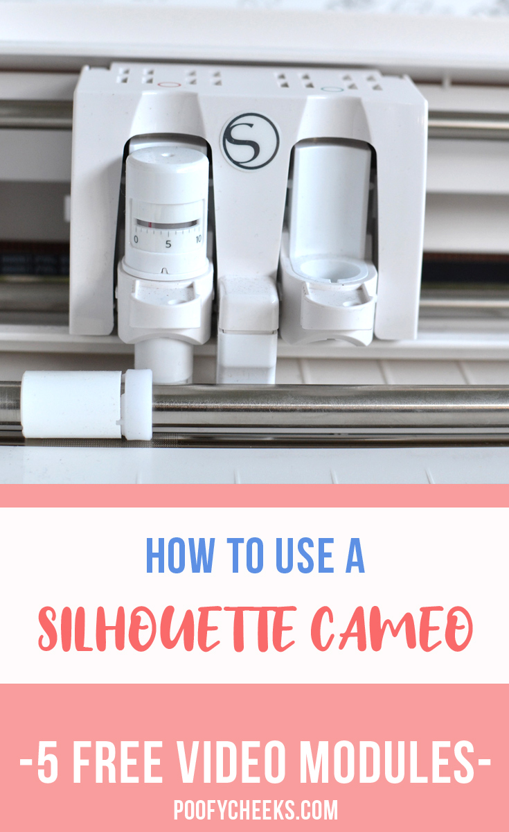 Free Silhouette Cameo course for beginners. 5 video modules that walk you through unboxing, creating in Silhouette Studio, cutting and applying adhesive vinyl as well as heat transfer vinyl.