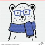 Winter bear cut file digital design. SVG, DXF and PNG