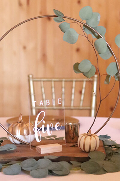 Wedding Centerpiece DIY – Wood and Hoop