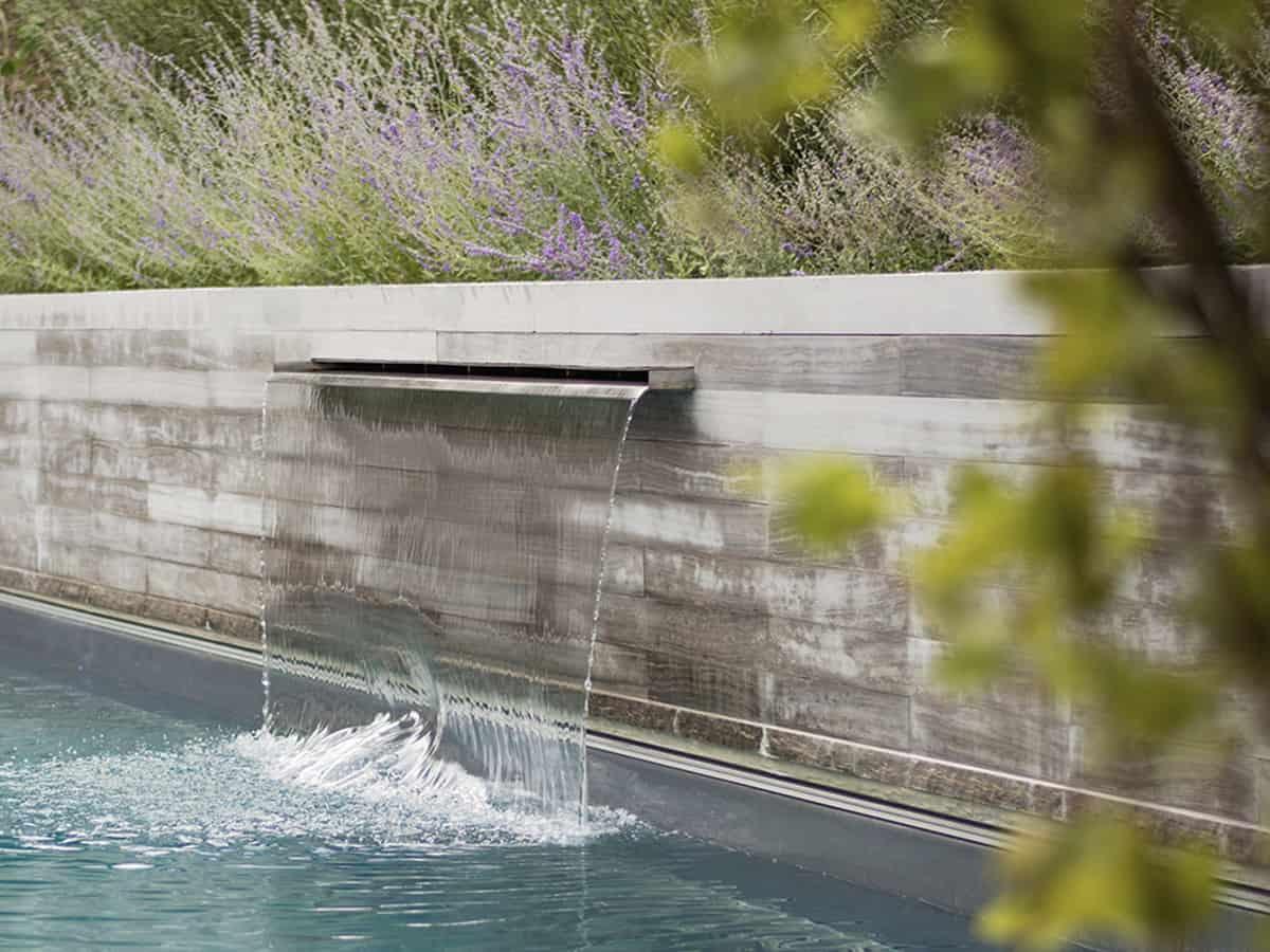 Pool waterfall.