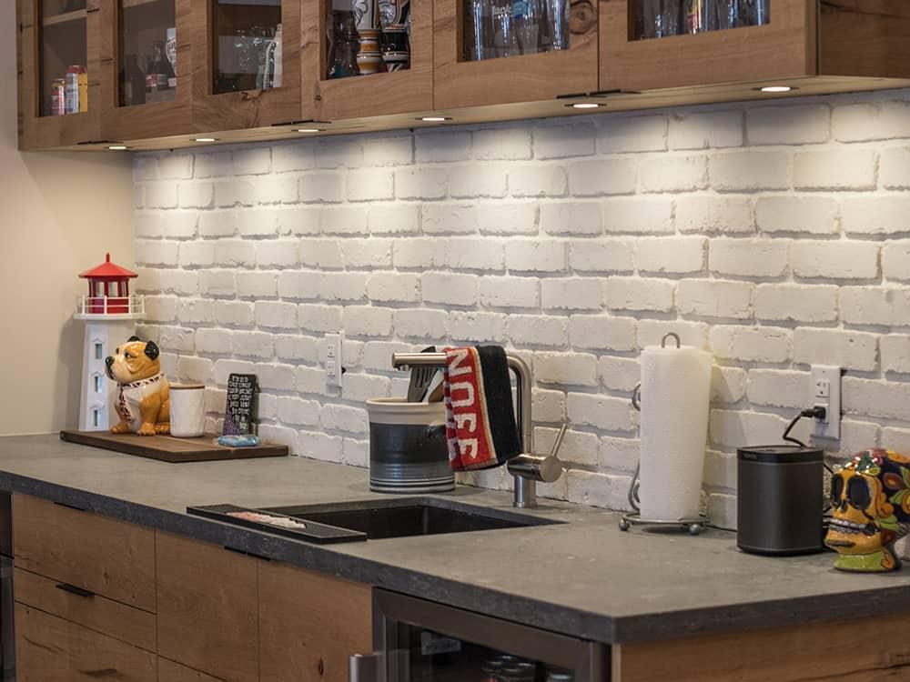 bar area with grey countertop.