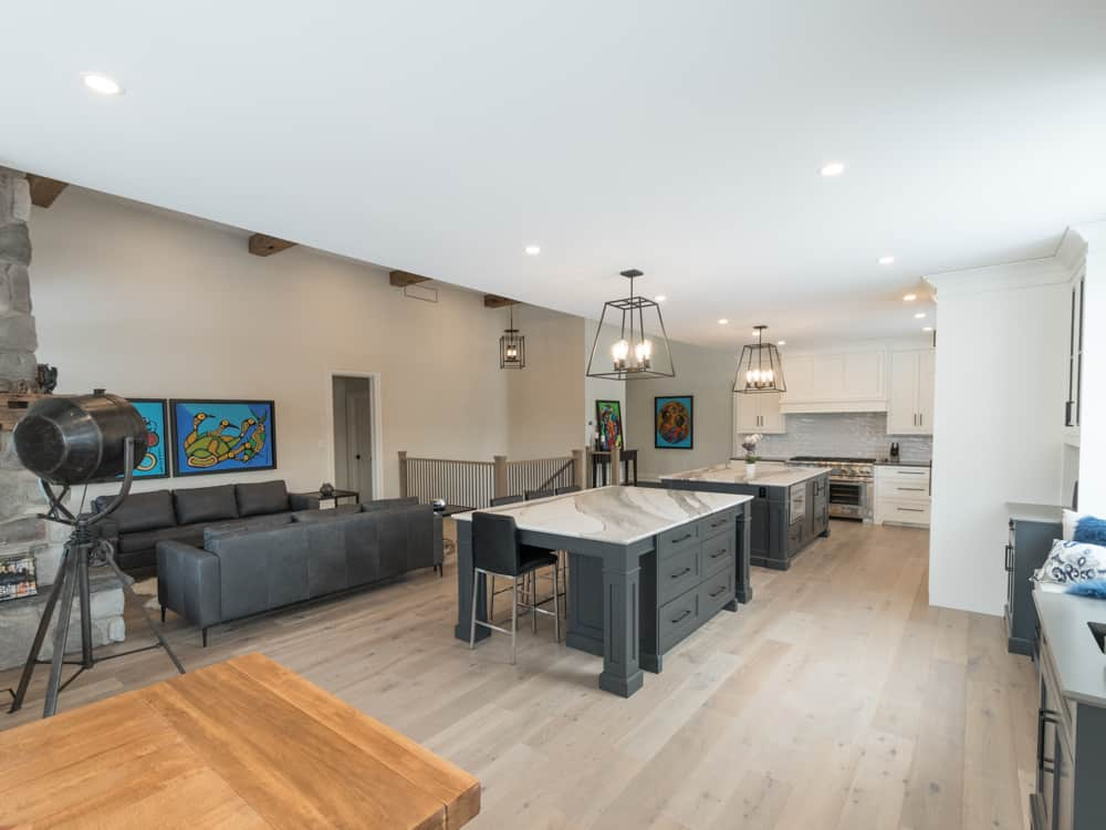 Open concept kitchen and living area.