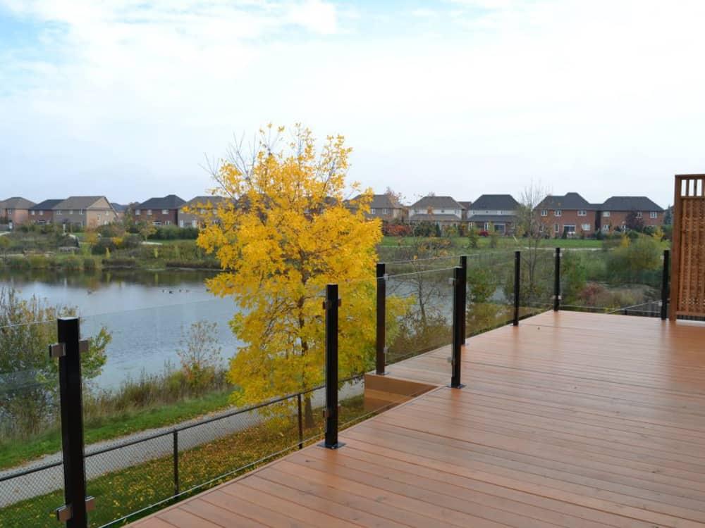 Glass railing on a deck