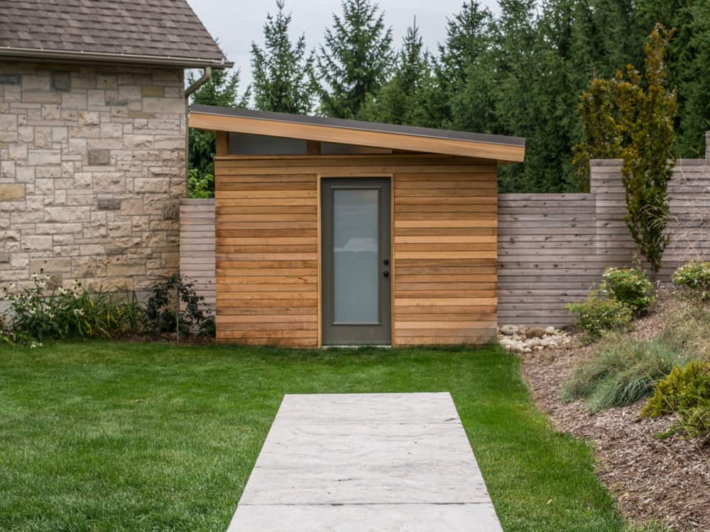 Small wooden shed.