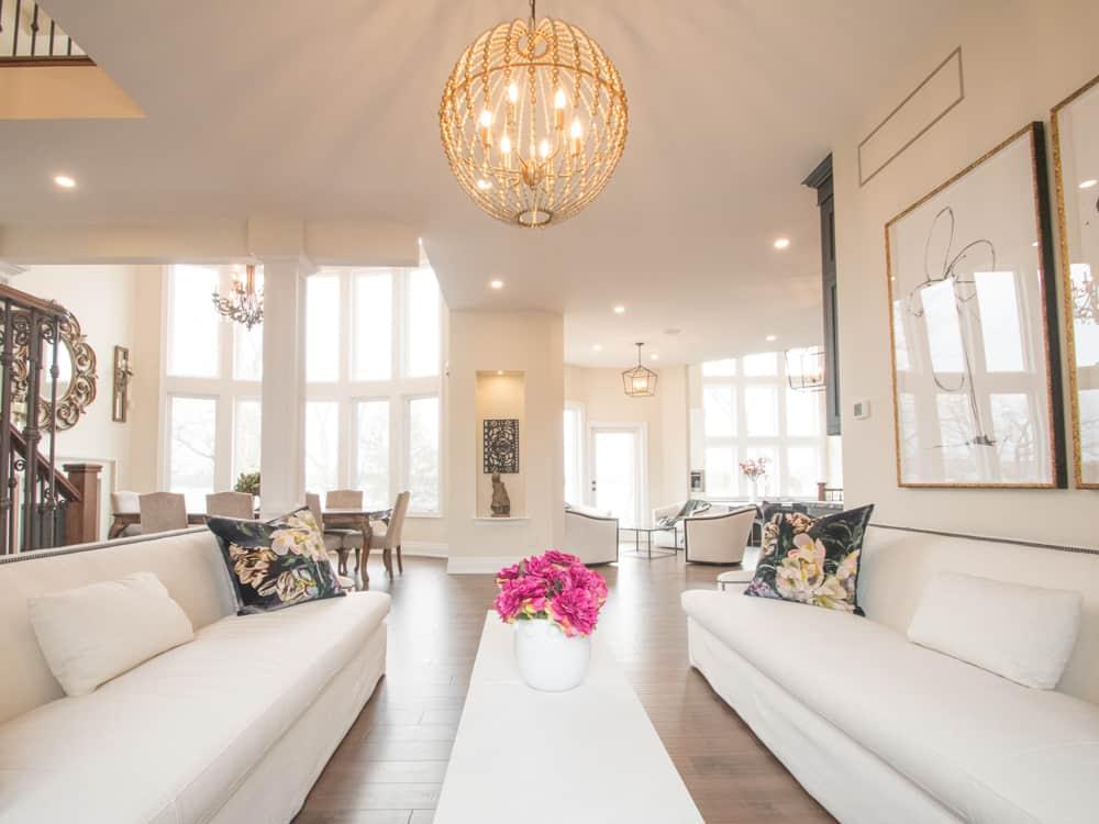 High ceilinged living room.