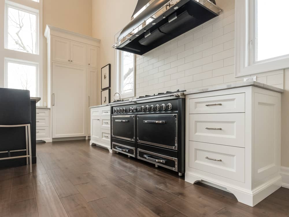 Black gas top stove and oven.