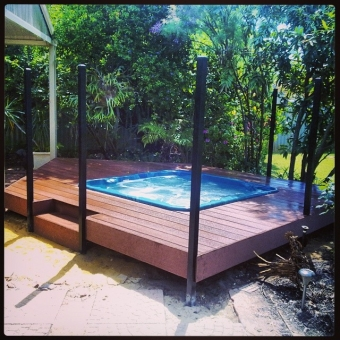 Composite deck ideal around a spa
