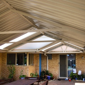 Small gable patio stepping out to a large gable patio