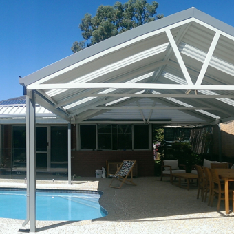 Triple interlinked gable patio