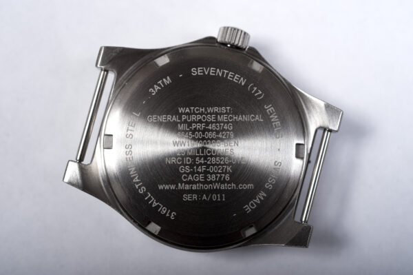 back of General Pupose Steel Marathon Watch