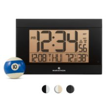 MARATHON Atomic Digital Wall Clock CL030052BK