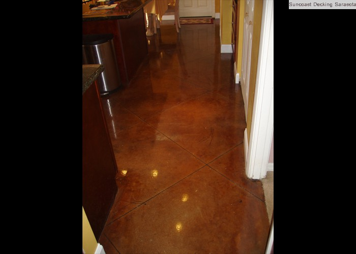 polished acid stained kitchen floor