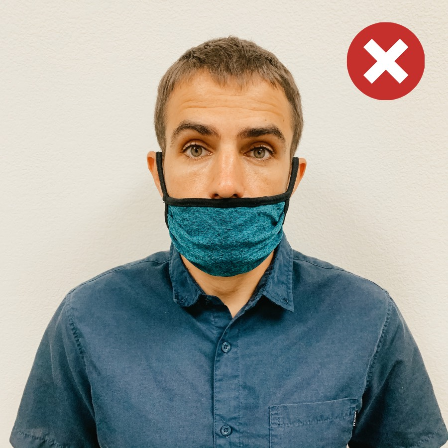 Legal assistant, Patrick wears a mask incorrectly. It doesn't cover his nose.