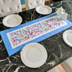 Supreme Accents Blooming Flowers Azure Blue 38 inch Table Runner
