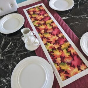 Supreme Accents Fall Leaves Brick Red Table Runner 38 inchess Long