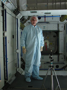 Dr. Stramler working in one of the Space Station elements which is now in orbit.