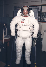 Dr. Stramler in a space suit when doing some space suit development testing