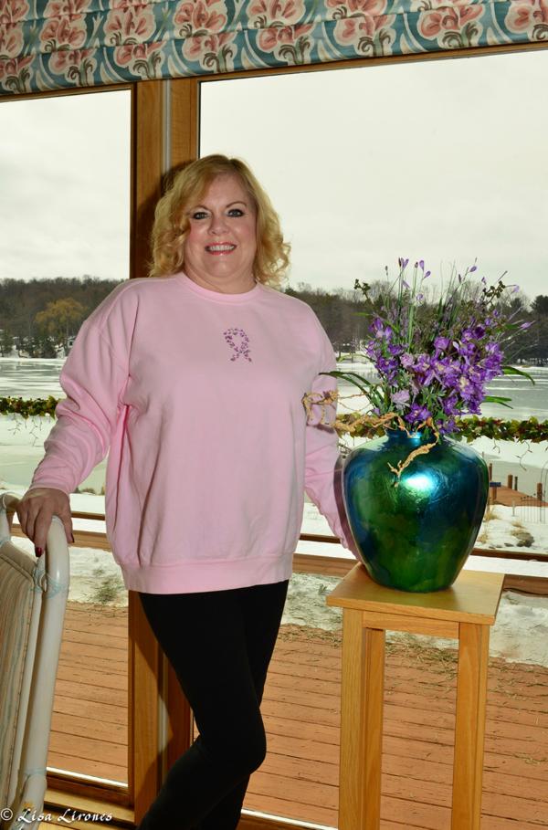 Antrim County High Tea for Breast Cancer crewneck pink pullover sweatshirt