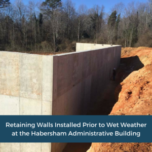 Installed Retaining Walls   Habersham County Administrative Building   Cooper and Company General Contractors   Northeast GA