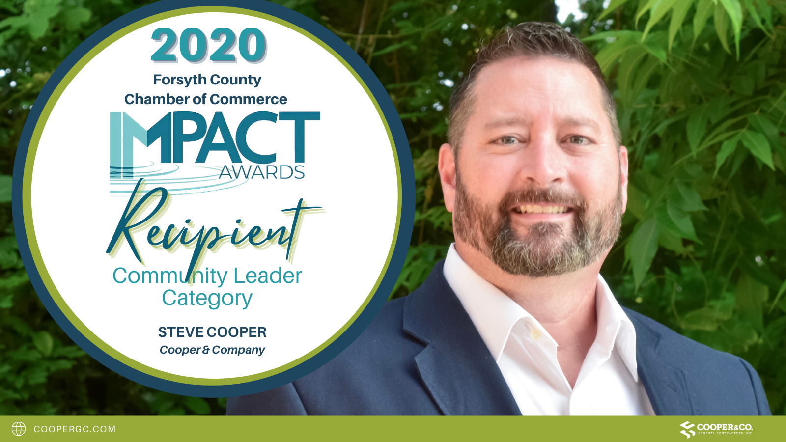 Steve Cooper recognized at 2020 Forsyth County Impact Awards