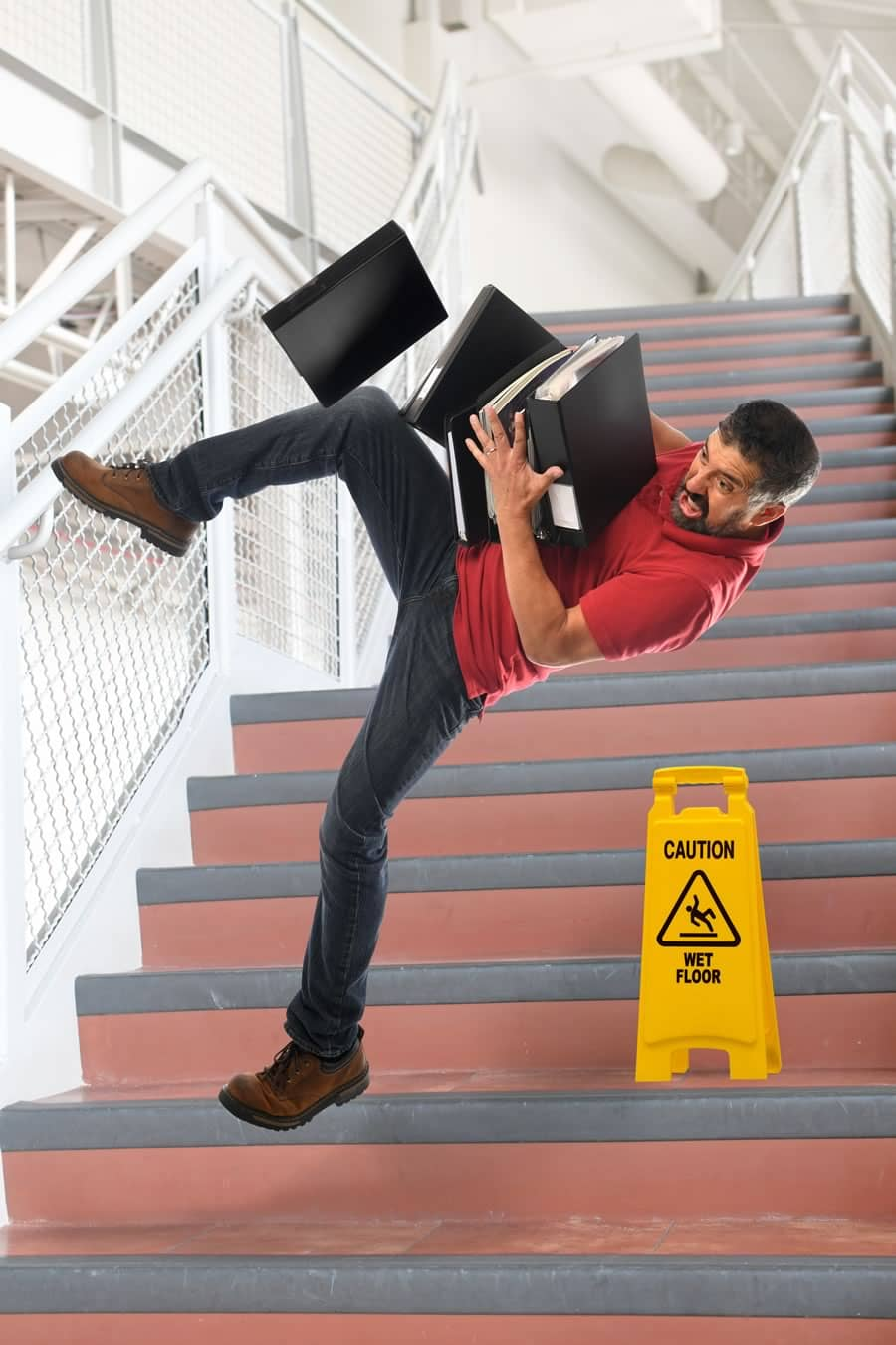 Slip and fall accident on the stairs