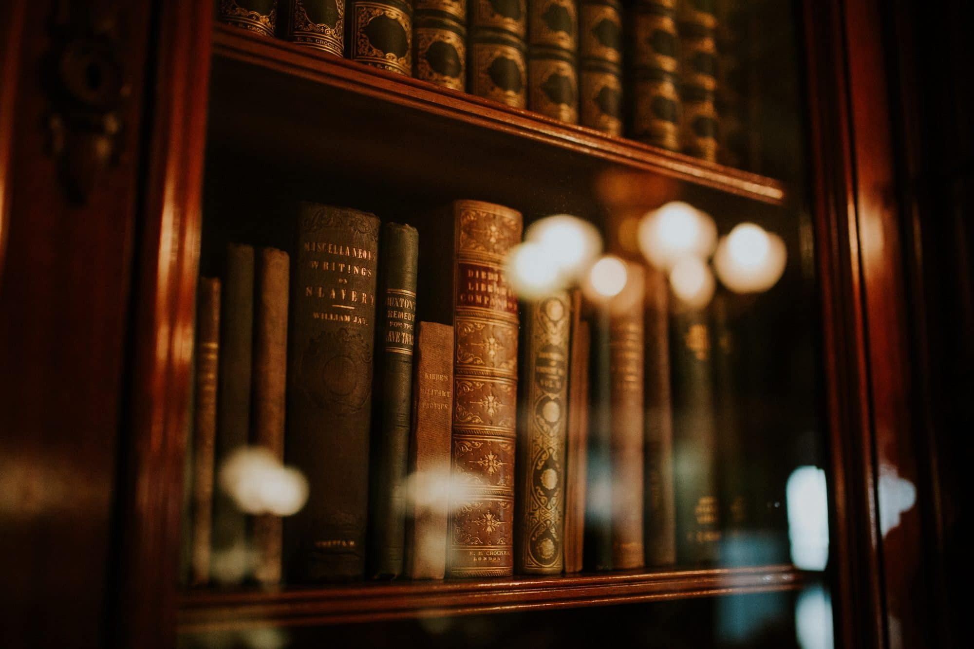 bookshelf with antique books
