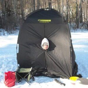 Ice fishing hut in Maine