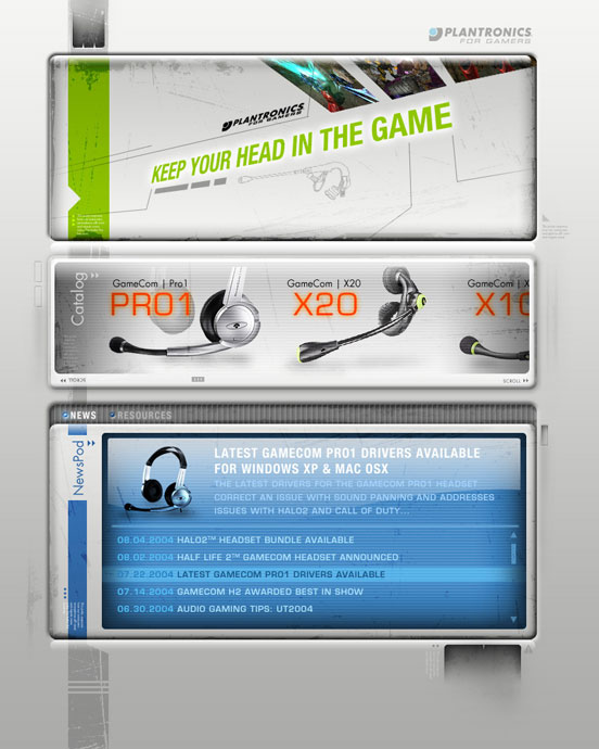 Plantronics Gaming: Site Concept Home Page
