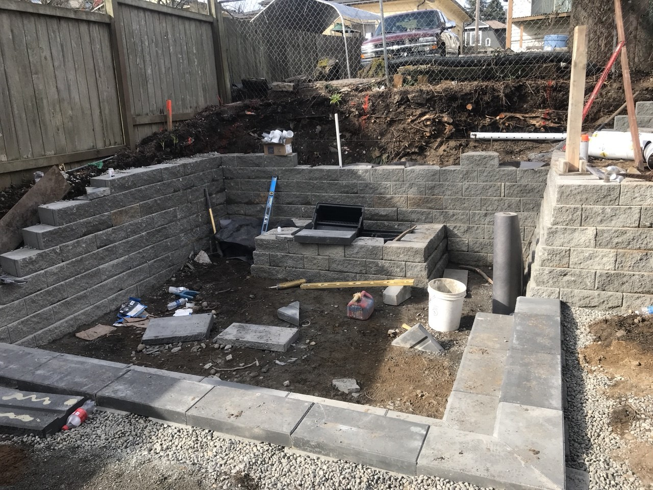 A backyard in the process of renovation.