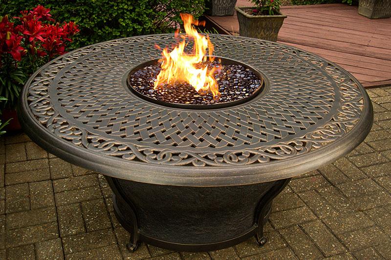 A photo of a backyard fire pit.