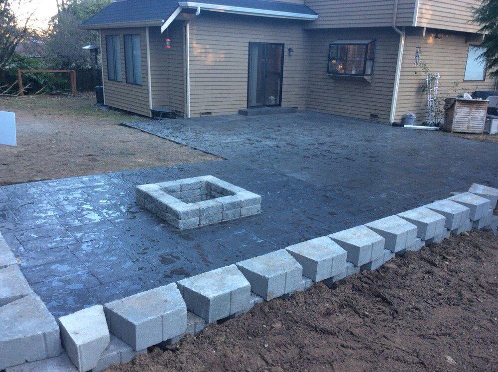A photo of a backyard patio.