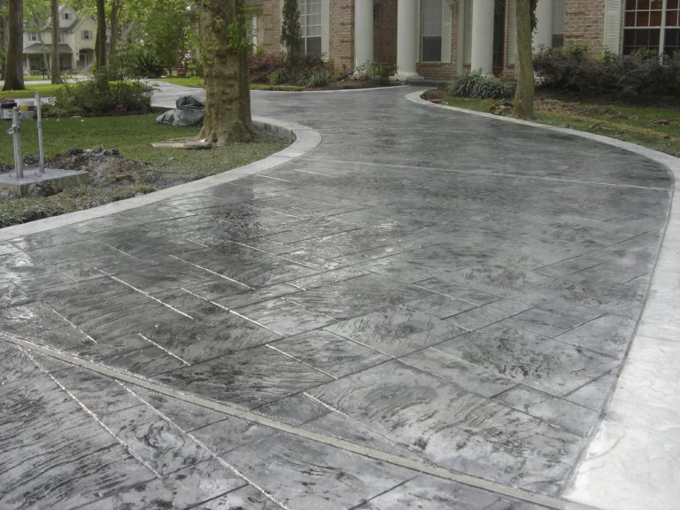 A photo of a stamped concrete driveway.